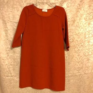 Burnt orange Everly long sleeve shift dress